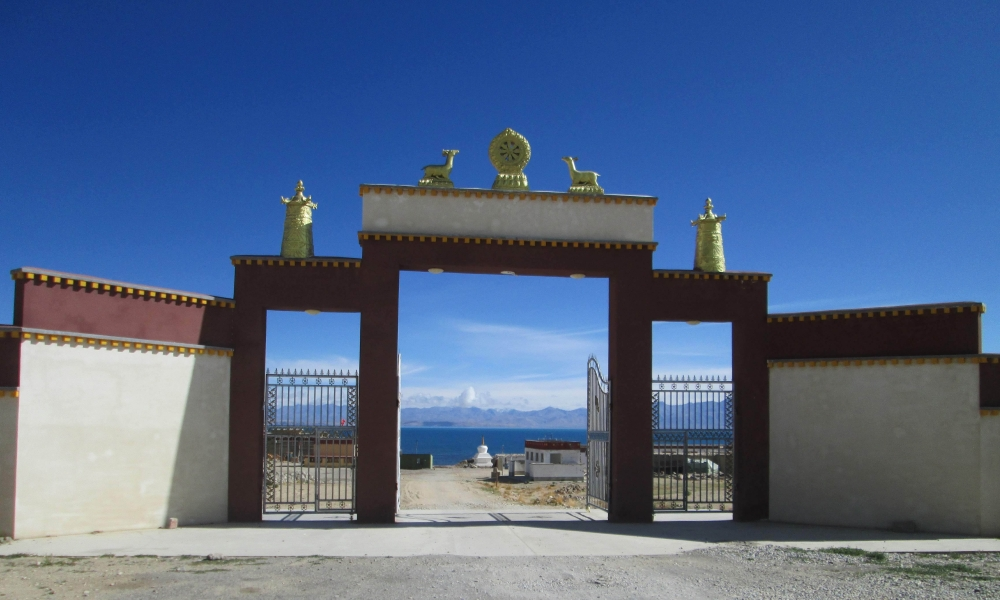 Gate of the Qugu, with Mansarovar and Mount Kailash in the background