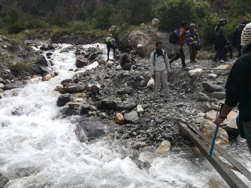 Crossing the stream Kailash Mansarovar Yatra 2018