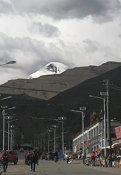 Mount Kailash view from the streets of Darchen